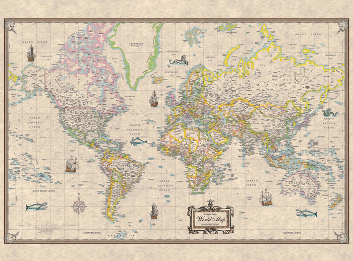 World Antique-Look Mounted Wall Map (Framing Available)
