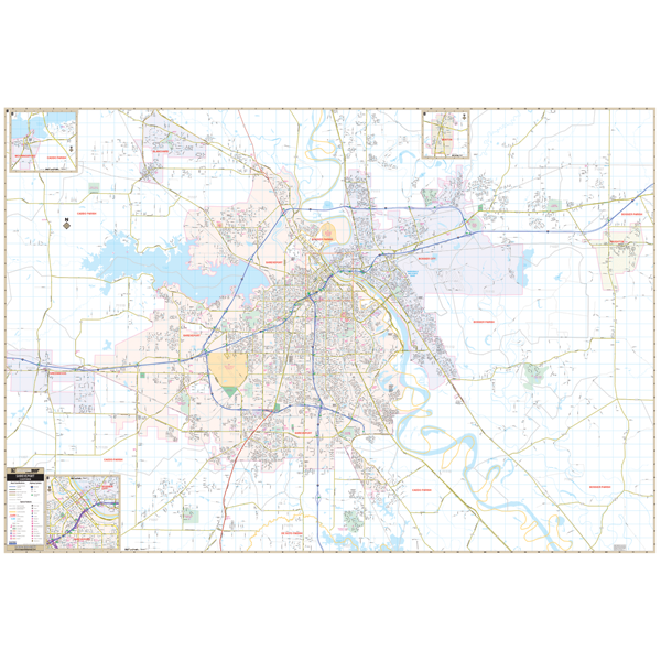 Shreveport and Bossier City, LA Wall Map