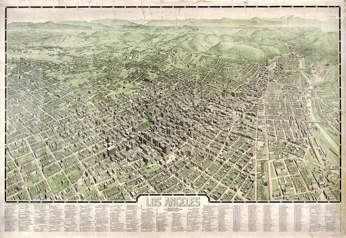 Los Angeles 1909 Historical Print Mounted Wall Map (Framing Available)
