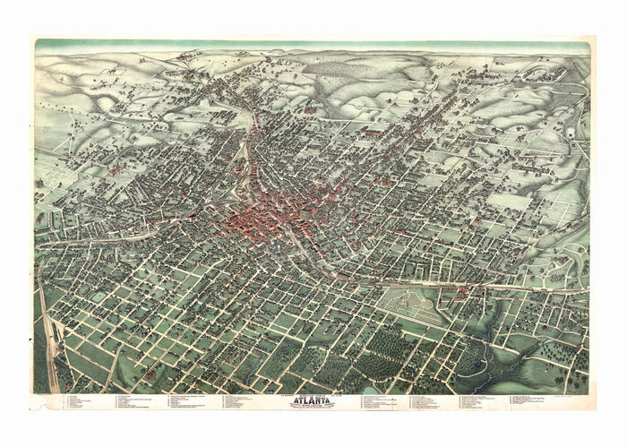 Atlanta, GA 1892 Historical Print Mounted Wall Map (Framing Available)