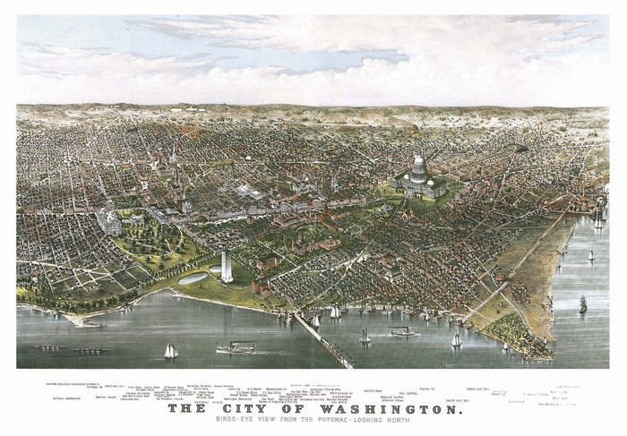 Washington, DC 1880 Historical Print Mounted Wall Map (Framing Available)