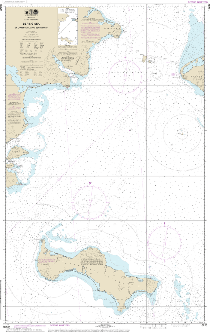 NOAA Nautical Chart 16220: Bering Sea St. Lawrence Island to Bering Strait
