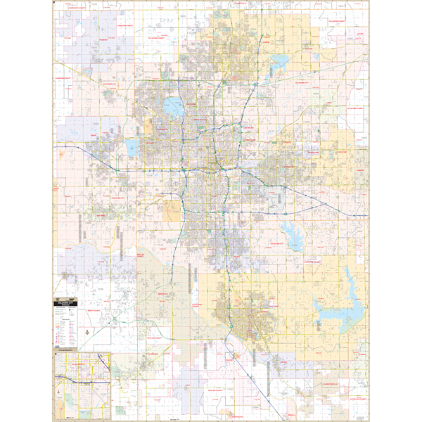 Oklahoma City, OK Wall Map