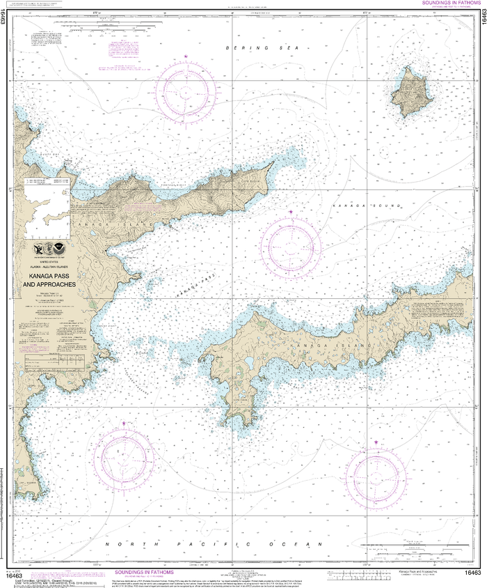 NOAA Nautical Chart 16463: Kanaga Pass and approaches