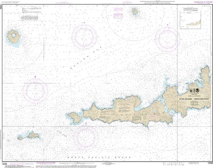 NOAA Nautical Chart 16486: Atka Island, western part