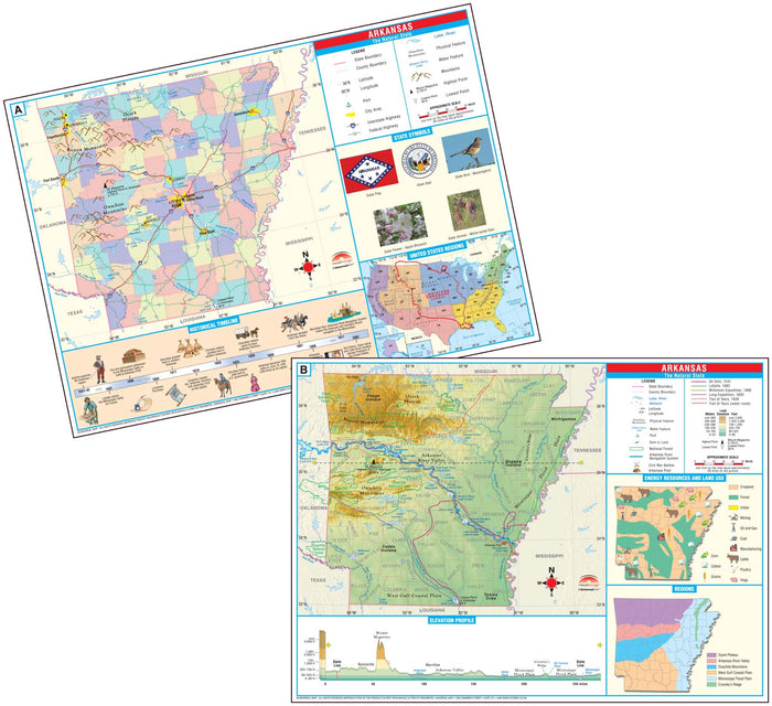 Arkansas State Primary Thematic Deskpad Map (multi-pack)