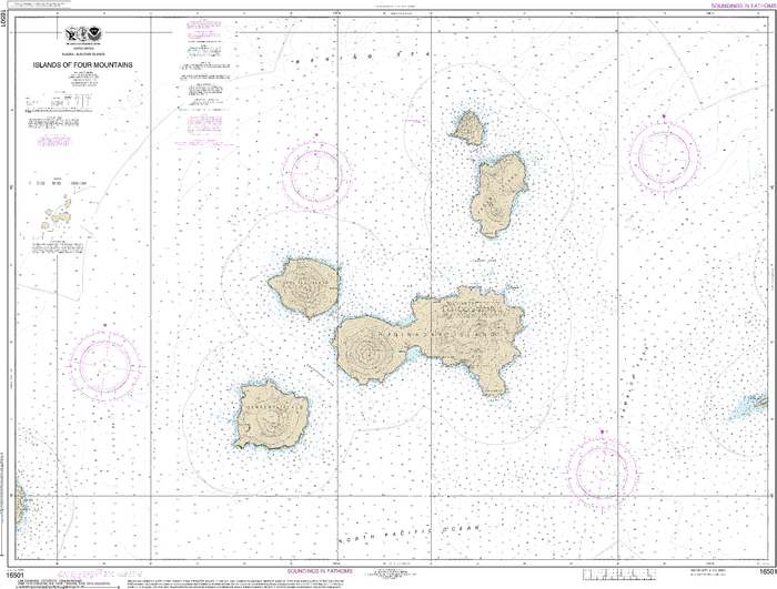 NOAA Nautical Chart 16501: Islands of Four Mountains