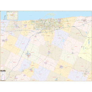 Erie, Pa Wall Map - Large Laminated