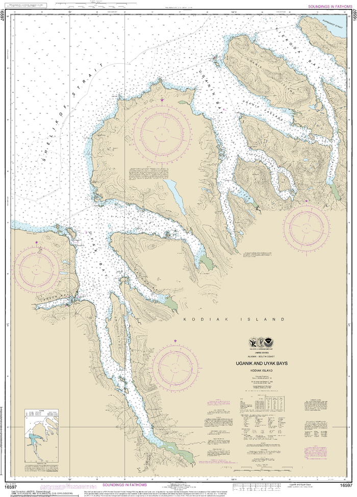 NOAA Nautical Chart 16597: Uganik and Uyak Bays