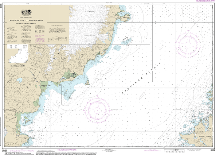 NOAA Nautical Chart 16608: Shelikof Strait-Cape Douglas to Cape Nukshak