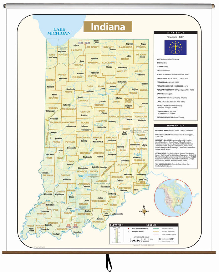 Indiana Large Scale Shaded Relief Wall Map