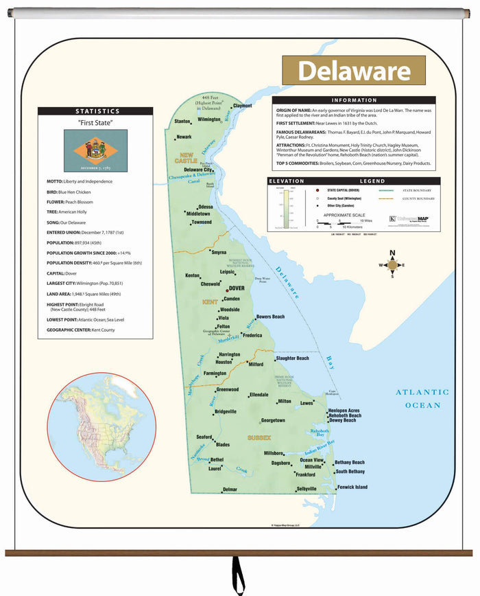 Delaware Large Scale Shaded Relief Wall Map