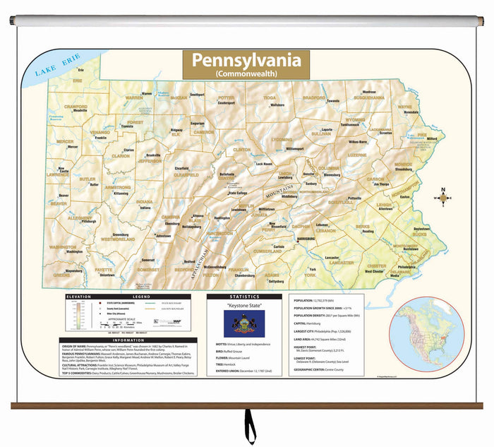 Pennsylvania Large Scale Shaded Relief Wall Map