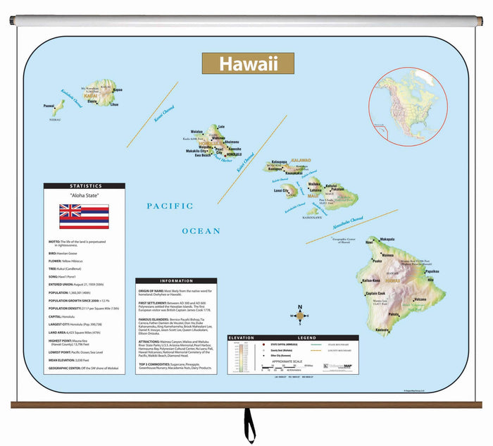 Hawaii Large Scale Shaded Relief Wall Map