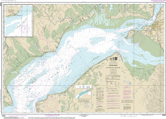 NOAA Nautical Chart 16663: Cook Inlet-East Foreland to Anchorage;North Foreland