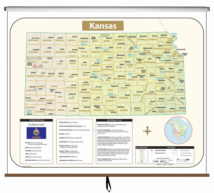 Kansas Large Scale Shaded Relief Wall Map