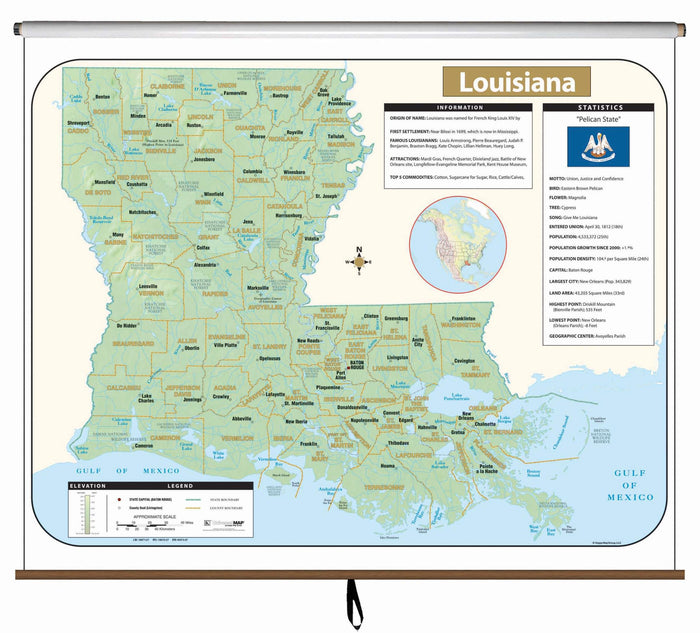 Louisiana Large Scale Shaded Relief Wall Map