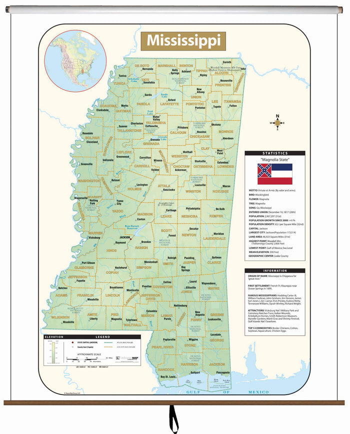Mississippi Large Scale Shaded Relief Wall Map