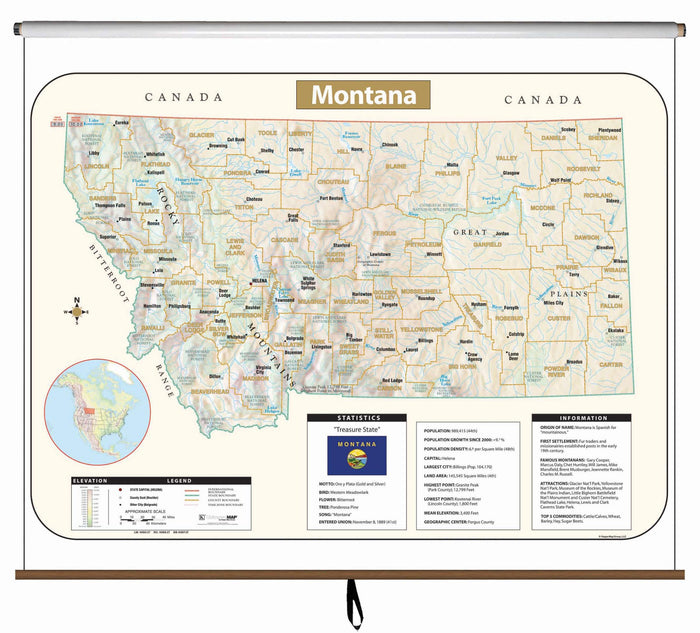 Montana Large Scale Shaded Relief Wall Map