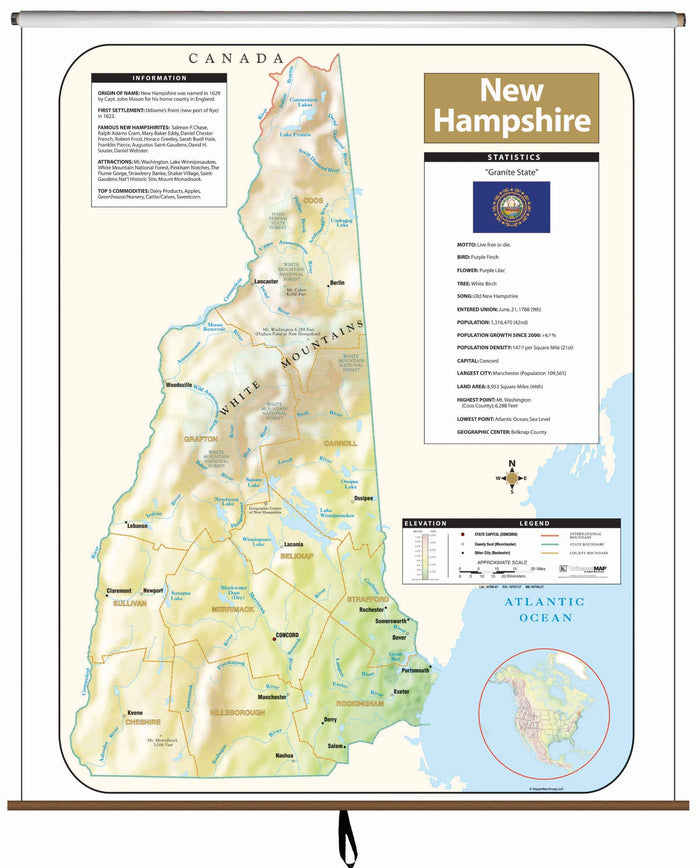 New Hampshire Large Scale Shaded Relief Wall Map