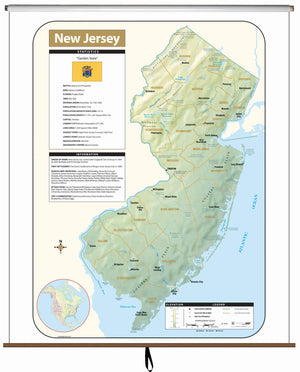 Kappa Map Group  New Jersey Large Scale Shaded Relief Wall Map
