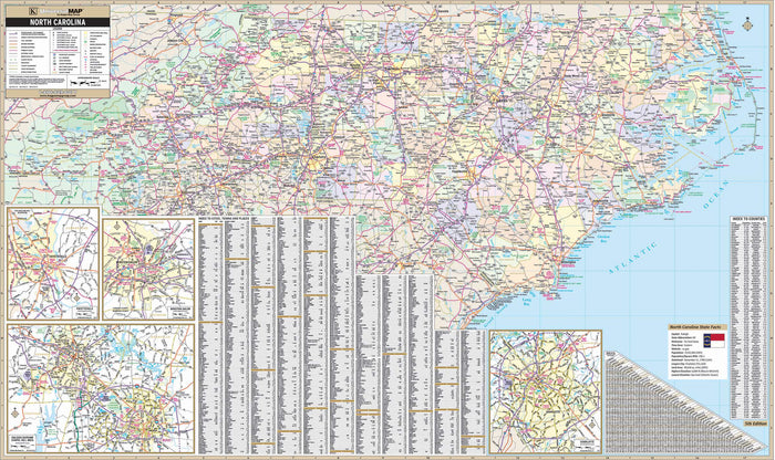 North Carolina State Wall Map