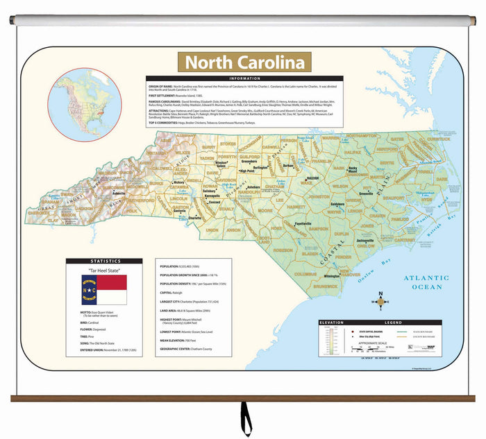 North Carolina Large Scale Shaded Relief Wall Map