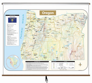 Kappa Map Group  Oregon Large Scale Shaded Relief Wall Map