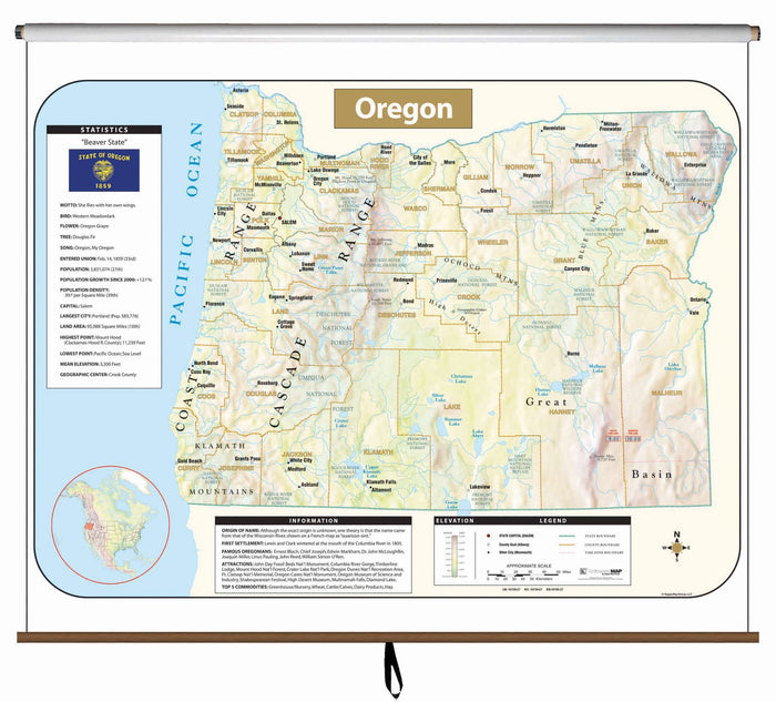 Oregon Large Scale Shaded Relief Wall Map