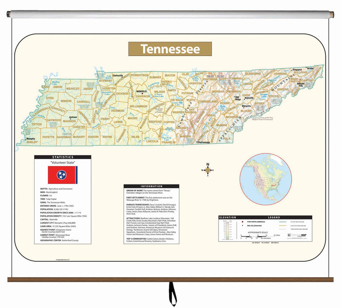 Tennessee Large Scale Shaded Relief Wall Map