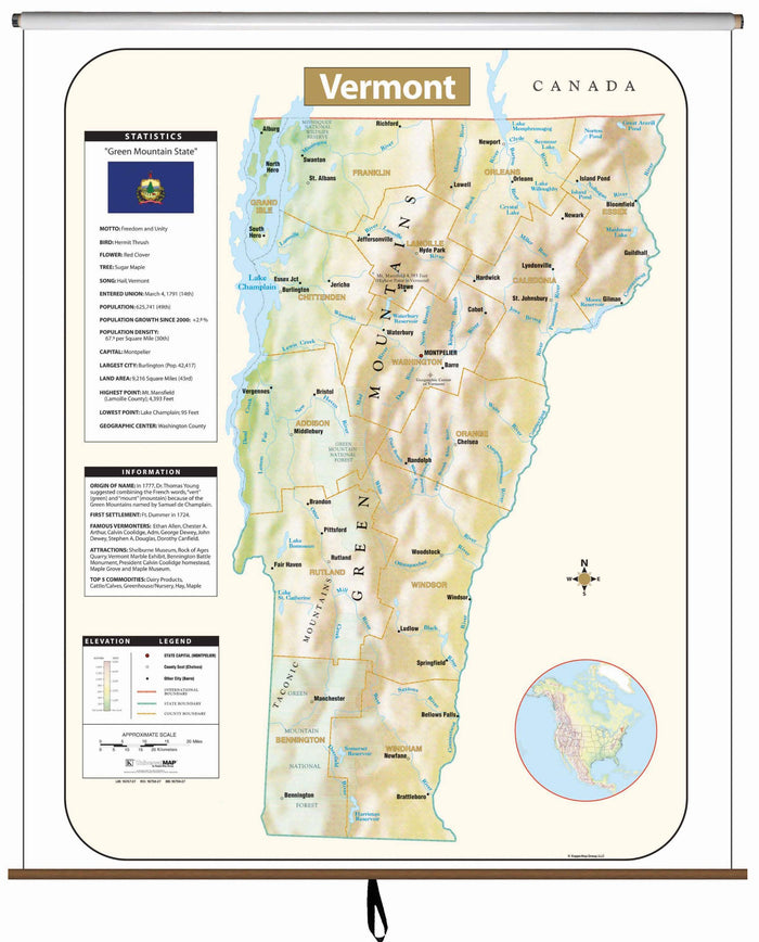 Vermont Large Scale Shaded Relief Wall Map