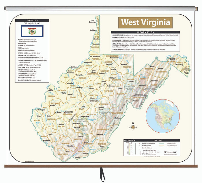 West Virginia Large Scale Shaded Relief Wall Map