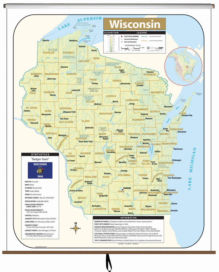 Wisconsin Large Scale Shaded Relief Wall Map