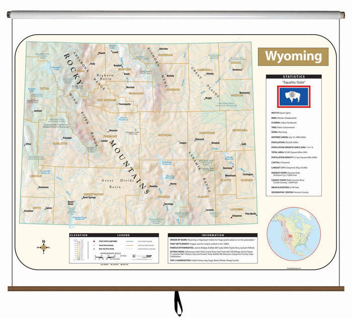 Wyoming Large Scale Shaded Relief Wall Map