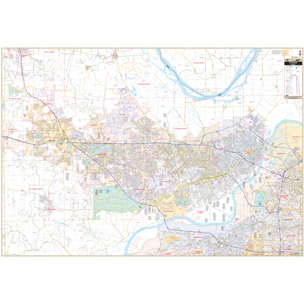 St Charles, MO Wall Map