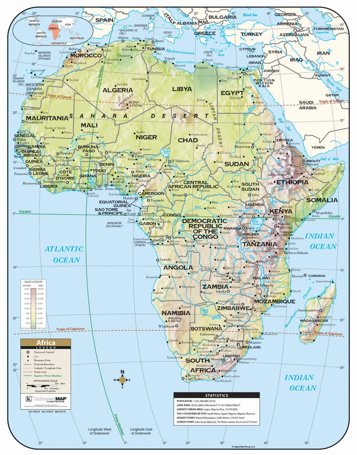 Africa Large Scale Shaded Relief Wall Map