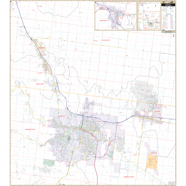 Rapid City and Sturgis, SD Wall Map