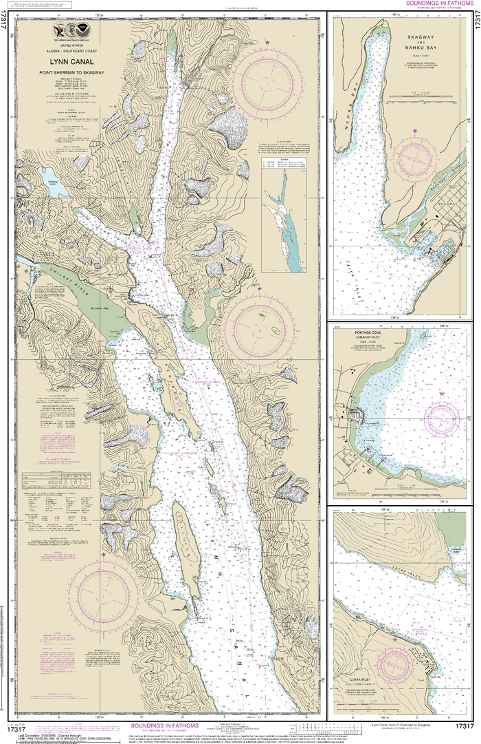 NOAA Nautical Chart 17317: Lynn Canal-Point Sherman to Skagway;Lutak Inlet;Skagway and Nahku Bay;Portage Cove, Chilkoot Inlet