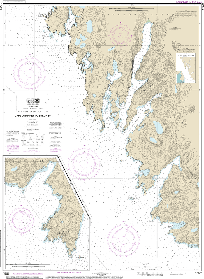 NOAA Nautical Chart 17330: West Coast of Baranof Island Cape Ommaney to Byron Bay