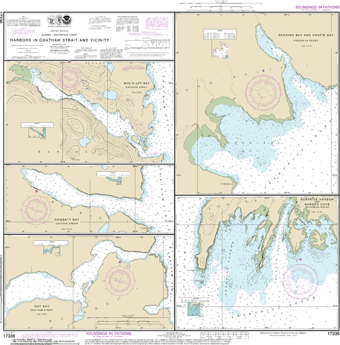 NOAA Nautical Chart 17336: Harbors in Chatham Strait and vicinity Gut Bay, Chatham Strait;Hoggatt Bay, Chatham Strait;Red Bluff Bay, Chatham Strait;Herring Bay and Chapin Bay, Frederick Sound;Surprise Hbr, and Murder Cove, Frederick Sound