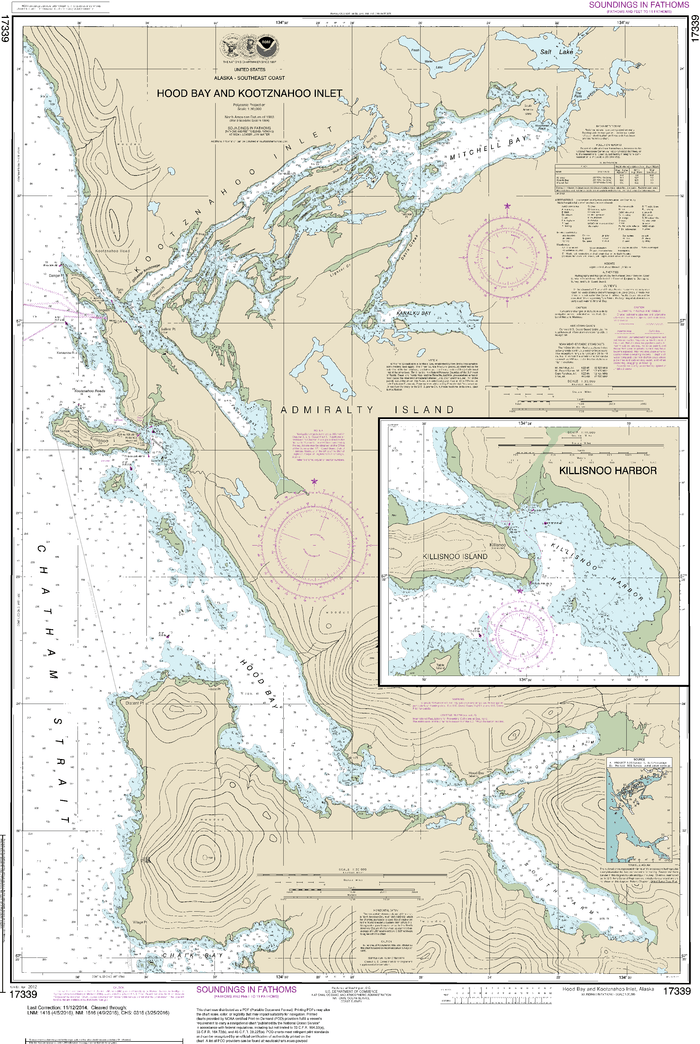 NOAA Nautical Chart 17339: Hood Bay and Kootznahoo Inlet