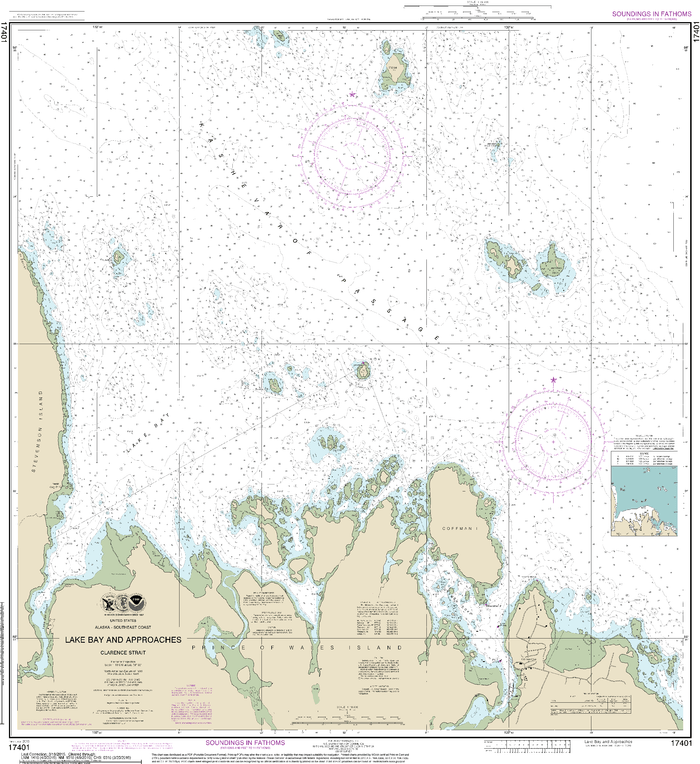 NOAA Nautical Chart 17401: Lake Bay and approaches, Clarence Str.