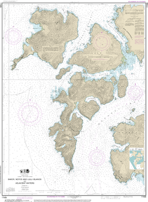NOAA Nautical Chart 17406: Baker, Noyes, and LuluIslands and adjacent waters