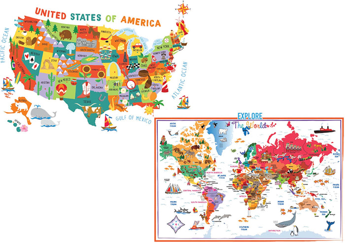 US and World Illustrated Map Combo Pack