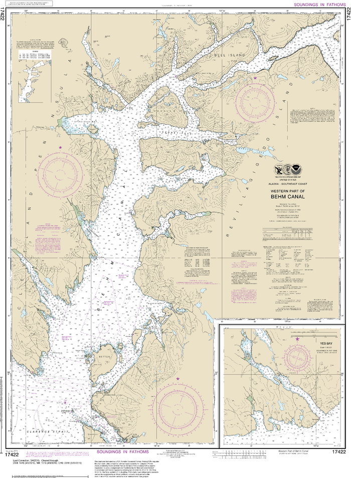 NOAA Nautical Chart 17422: Behm Canal-western part;Yes Bay