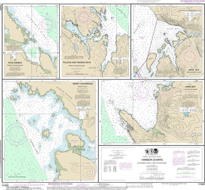NOAA Nautical Chart 17423: Harbor Charts-Clarence Strait and Behm Canal Dewey Anchorage, Etolin Island;Ratz Harbor, Prince of Wales Island;Naha Bay, Revillagigedo Island;Tolstoi and Thorne Bays, Prince of Wales ls.;Union Bay, Cleveland Peninsula