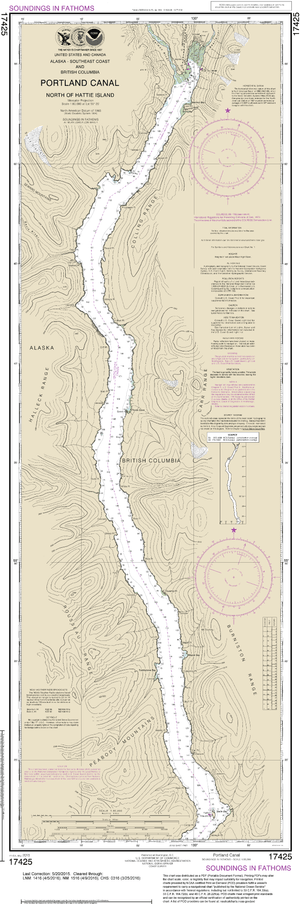 NOAA Nautical Chart 17425: Portland Canal-North of Hattie Island