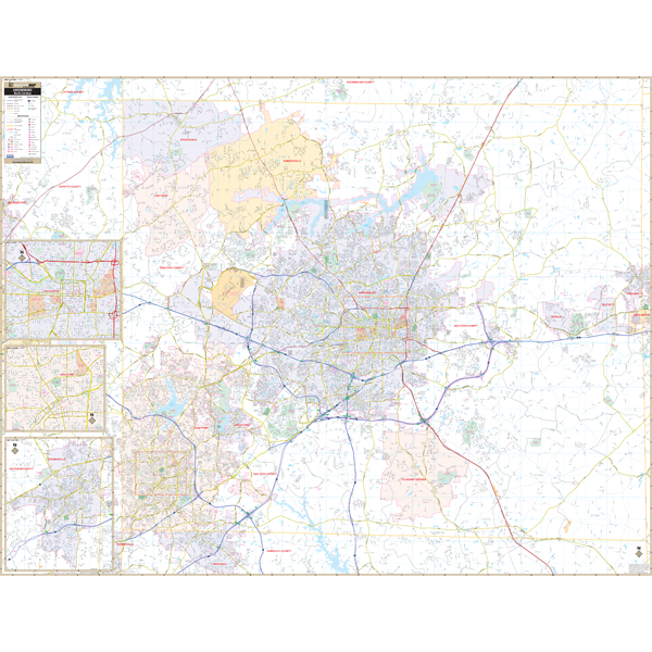 Greensboro, High Point and Guilford County, NC Wall Map