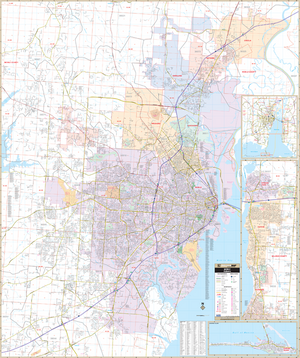 Mobile, Al Wall Map - Large Laminated