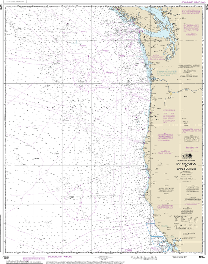 NOAA Nautical Chart 18007: San Francisco to Cape Flattery